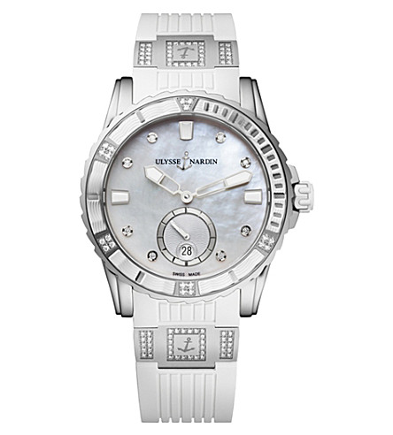 ULYSSE NARDIN 3203-190-3C/10.10 Diver Lady stainless steel and diamond watch