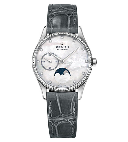 ZENITH 16.2310.692/81.C706 Elite diamond, mother-of-pearl and leather chronograph watch