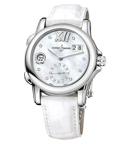ULYSSE NARDIN 3343-222/391 Classic Dual Time stainless steel and diamond watch