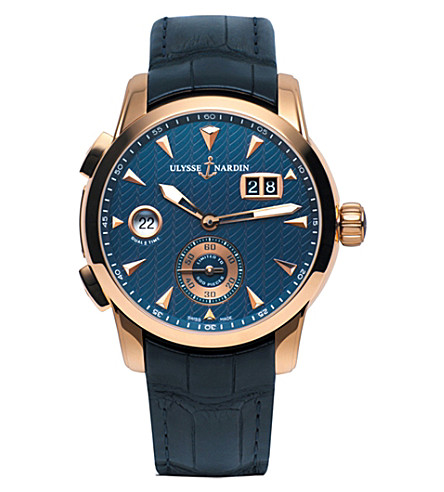 ULYSSE 纳丁 3346-126LE/93 经典双时间18ct 玫瑰金和皮革手表