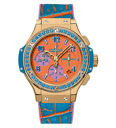 HUBLOT 341.VL.4789.LR.1207.POP15 Big Bang 18ct king gold, topaz and alligator leather watch