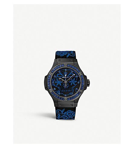 HUBLOT 343. 6590. 橡胶1201大爆炸 Broderie 蓝宝石, 真丝和陶瓷手表