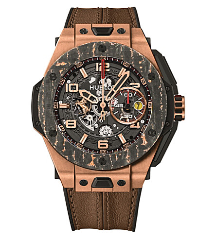 HUBLOT 401.OJ.0123.VR Big Bang Ferrari 18ct rose gold and alligator leather watch