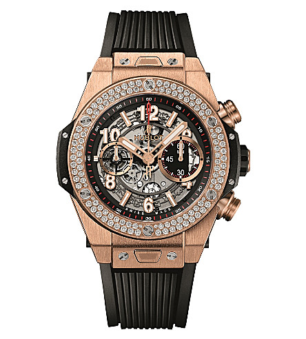 HUBLOT 411.OX.1180.RX.1104 Big Bang Unico King Diamonds 18ct rose-gold and rubber watch