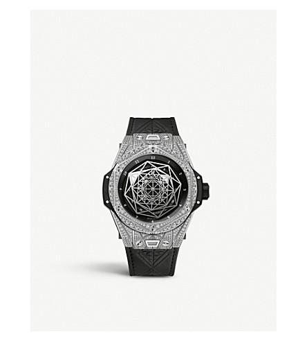HUBLOT 415. 1112. VR. 1704。MXM17 Hublot 大霹雳桑蓝钻石, 钛和皮革手表