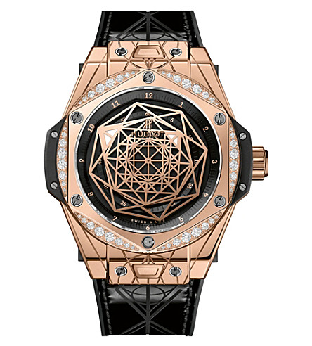 HUBLOT 465.OS.1118.VR.1204.MXM17 Big Bang Sang Bleu 18ct gold, diamonds and leather watch