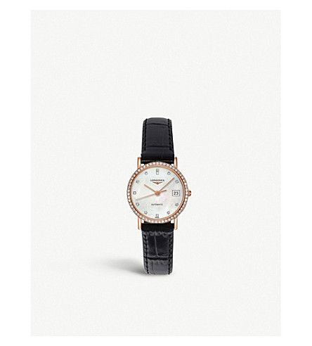 LONGINES Elegant 18ct rose gold, mother-of-pearl and leather strap watch