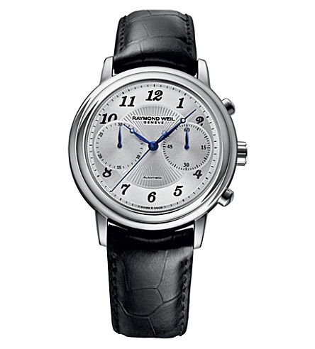 RAYMOND WEIL 4830-stc05659 Maestro stainless steel and leather watch