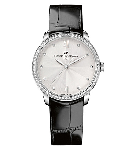 GIRARD-PERREGAUX 49523D11A171-CB6A 1966 stainless steel diamond and leather watch