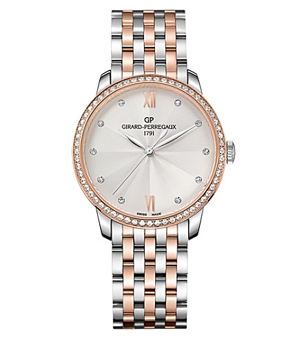 GIRARD-PERREGAUX 49523D56A171-56A 1966 stainless steel, pink gold and diamond watch