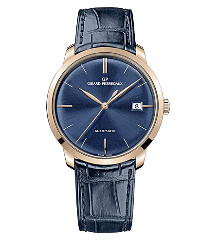 GIRARD-PERREGAUX 49525-52-432-bb4a 38mm blue alligator and rose gold automatic watch