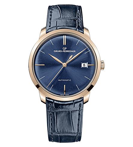 GIRARD-PERREGAUX 49525-52-432-bb4a 38mm 蓝色鳄鱼和玫瑰金色自动手表