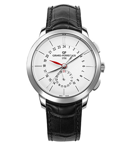 GIRARD-PERREGAUX 49544-11-132-BB60 1966 dual time stainless steel and leather watch