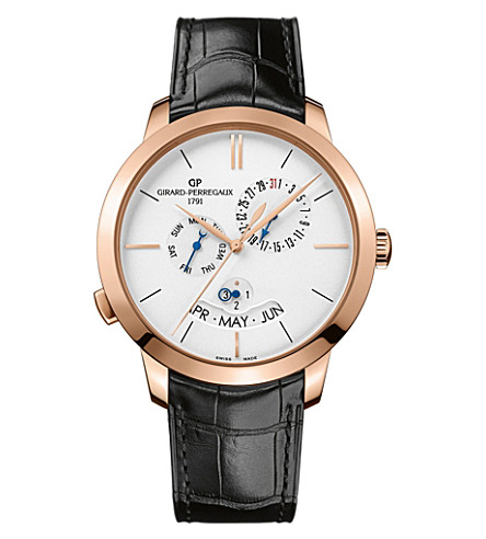 GIRARD-PERREGAUX 49547-52-131-BB60 1966 alligator-leather and 18ct rose-gold watch