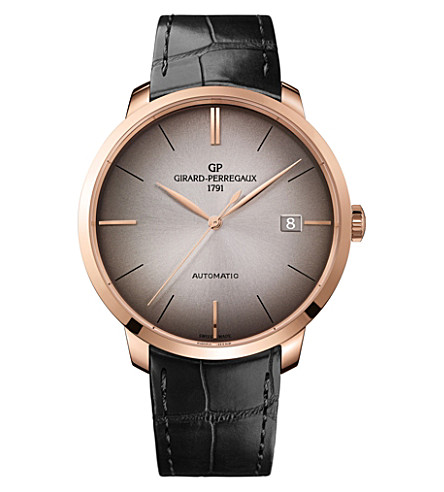 GIRARD-PERREGAUX 49551-52-231-BB60 1966 alligator-leather and 18ct rose-gold watch
