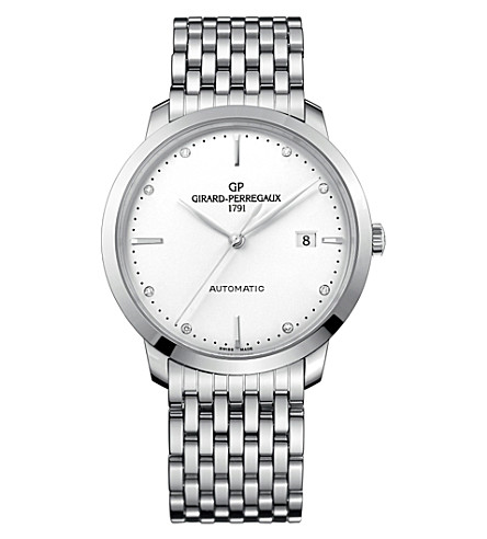 GIRARD-PERREGAUX 1966 steel and diamond automatic watch