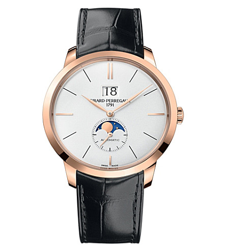GIRARD-PERREGAUX 1966-49556-52-131-BB6C rose gold and leather automatic watch