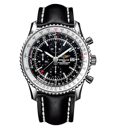 BREITLING A2432212/B726/441X/A20BA.1 Navtimer World chronograph stainless steel and leather watch