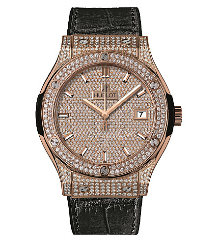 HUBLOT 511.OX.9010.LR.1704 Classic Fusion 18ct rose gold, diamond and alligator watch