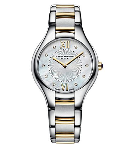 RAYMOND WEIL 5132STP00985 Noemia 18ct yellow-gold, stainless steel, diamond and mother-of-pearl watch (Mother-of-pearl