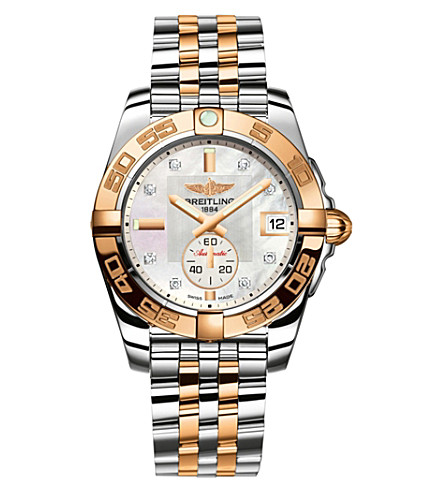 BREITLING C3733012|A725|376C Galactic 36 automatic 18ct rose gold, diamond and stainless steel chronograph watch