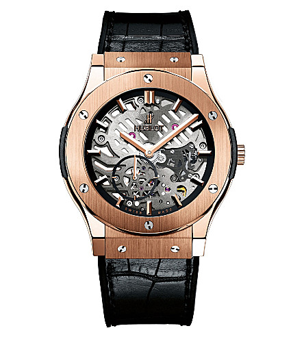 HUBLOT 515.OX.0180.LR Classic Fusion rose gold and alligator leather watch