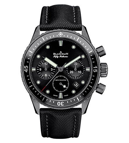 BLANCPAIN Automatic black dial black canvas strap