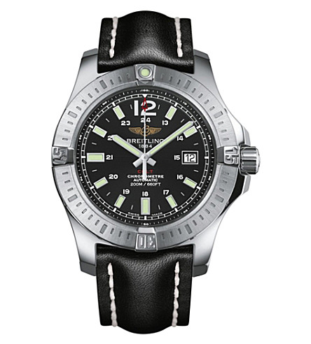 BREITLING Colt automatic stainless steel and leather watch