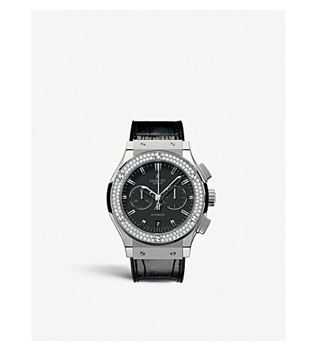 HUBLOT 541.NX.1170.LR.1104 Classic Fusion titanium, diamond and alligator-leather watch
