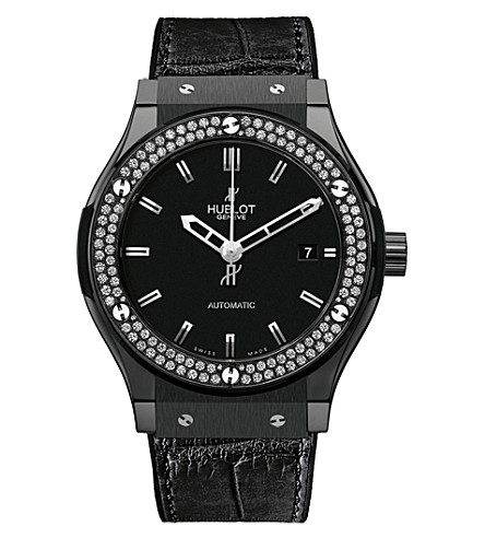 HUBLOT 542.cm.1170.lr.1104 Classic Fusion stainless steel, diamond and alligator-skin leather watch