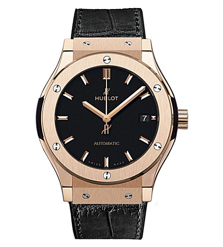 HUBLOT 542.OX.1181.LR Classic Fusion 18kt rose gold leather strap automatic watch