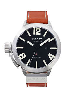 U-BOAT 5564 steel and leather chronograph watch