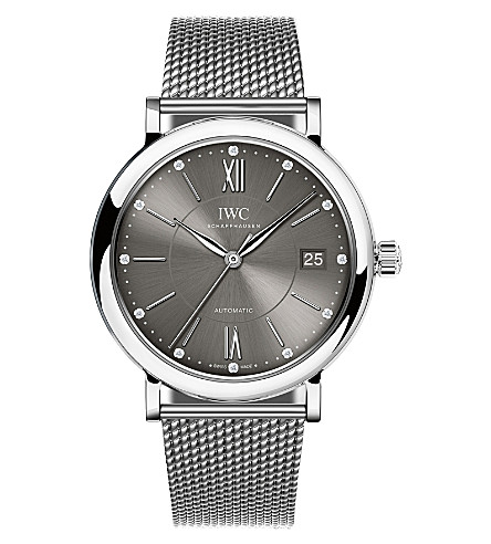 IWC SCHAFFHAUSEN IW458110 Portofino stainless steel and diamond watch