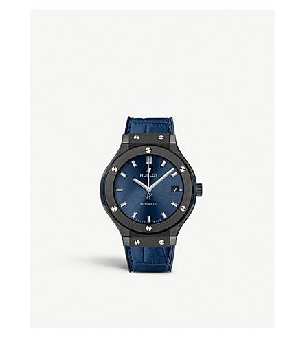 HUBLOT 565.CM.7170.LR Classic Fusion Blue ceramic and leather Watch