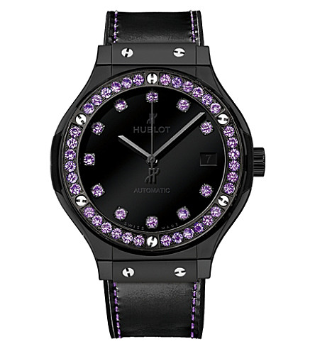 HUBLOT 565CX1210VR1205 Classic Fusion amethyst and leather watch