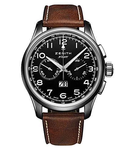 ZENITH 03.2410.4010/21.C722 Pilot 不锈钢皮表带腕表