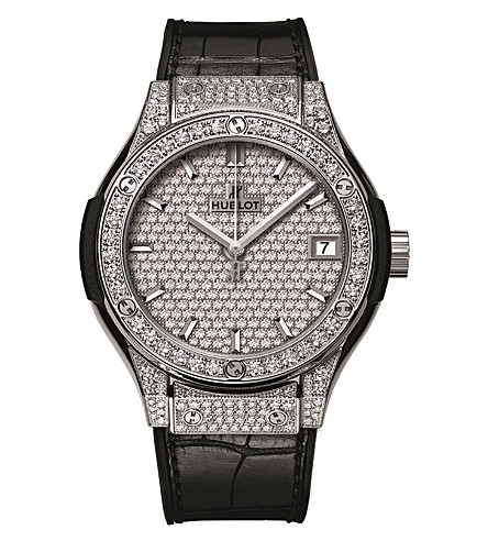HUBLOT 581.NX.9010.LR.1704 Classic Fusion titanium, diamond and alligator watch