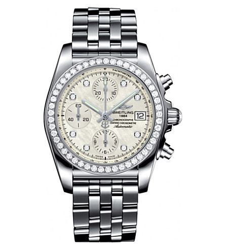 BREITLING A1331053/A776/385A Chronomat 38 diamond and stainless steel watch