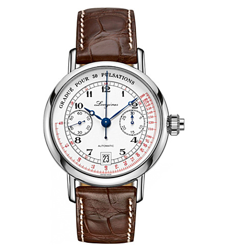 LONGINES L2.800.4.23.2 Heritage Pulsometer Chronograph stainless steel watch