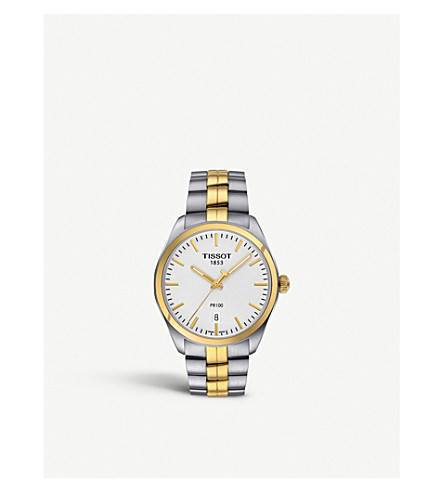 TISSOT T101.410.22.031.00 PR 100 stainless steel and yellow gold watch