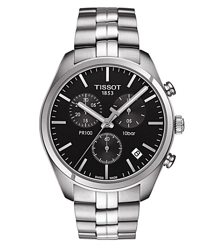 TISSOT T101.417.11.051.00 PR 100 stainless steel watch