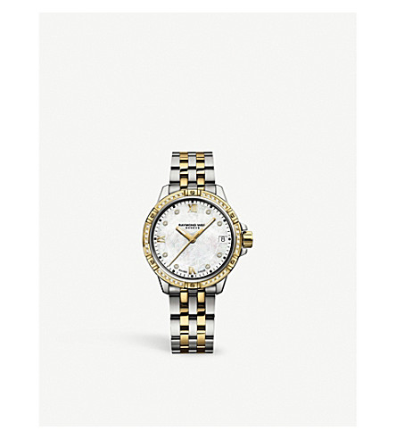 RAYMOND WEIL 5960-SPS-00995 Tango gold-plated stainless steel and diamond watch