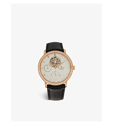 BLANCPAIN Villeret Tourbillon 18ct rose gold, diamond and alligator-leather watch