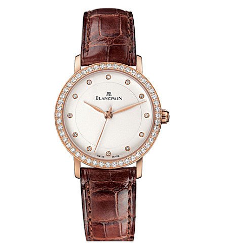 BLANCPAIN 6102-2987-55A Villeret rose-gold and alligator leather strap watch
