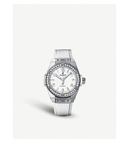 HUBLOT 465. 2010. 1204 大爆炸一击白色钢钻石手表