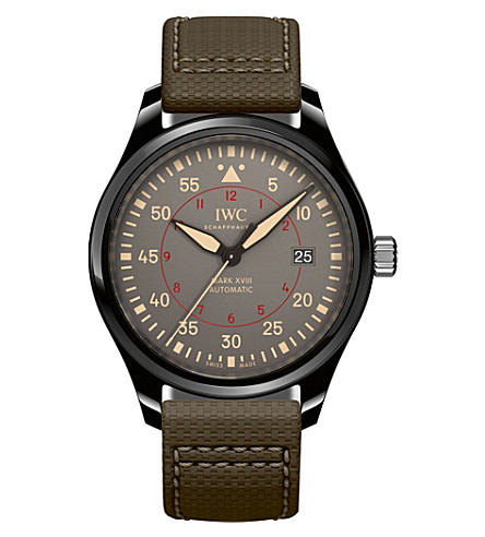 IWC SCHAFFHAUSEN Pilot's Mark XVIII Top Gun leather and ceramic watch