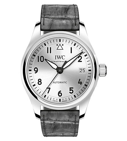 IWC SCHAFFHAUSEN Pilot's 36 alligator leather and stainless steel watch