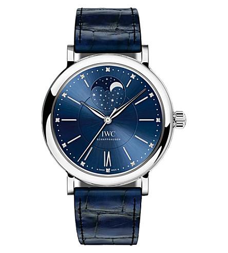 IWC SCHAFFHAUSEN IW459006 Portofino alligator-leather and diamond watch