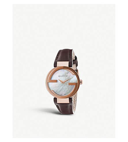 GUCCI YA133516 Interlocking-g collection rose gold-toned and leather watch