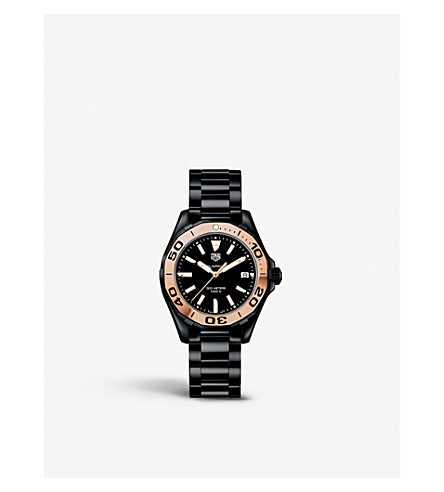 TAG HEUER WAY1355.BH0716 Aquaracer rose gold-plated and ceramic watch